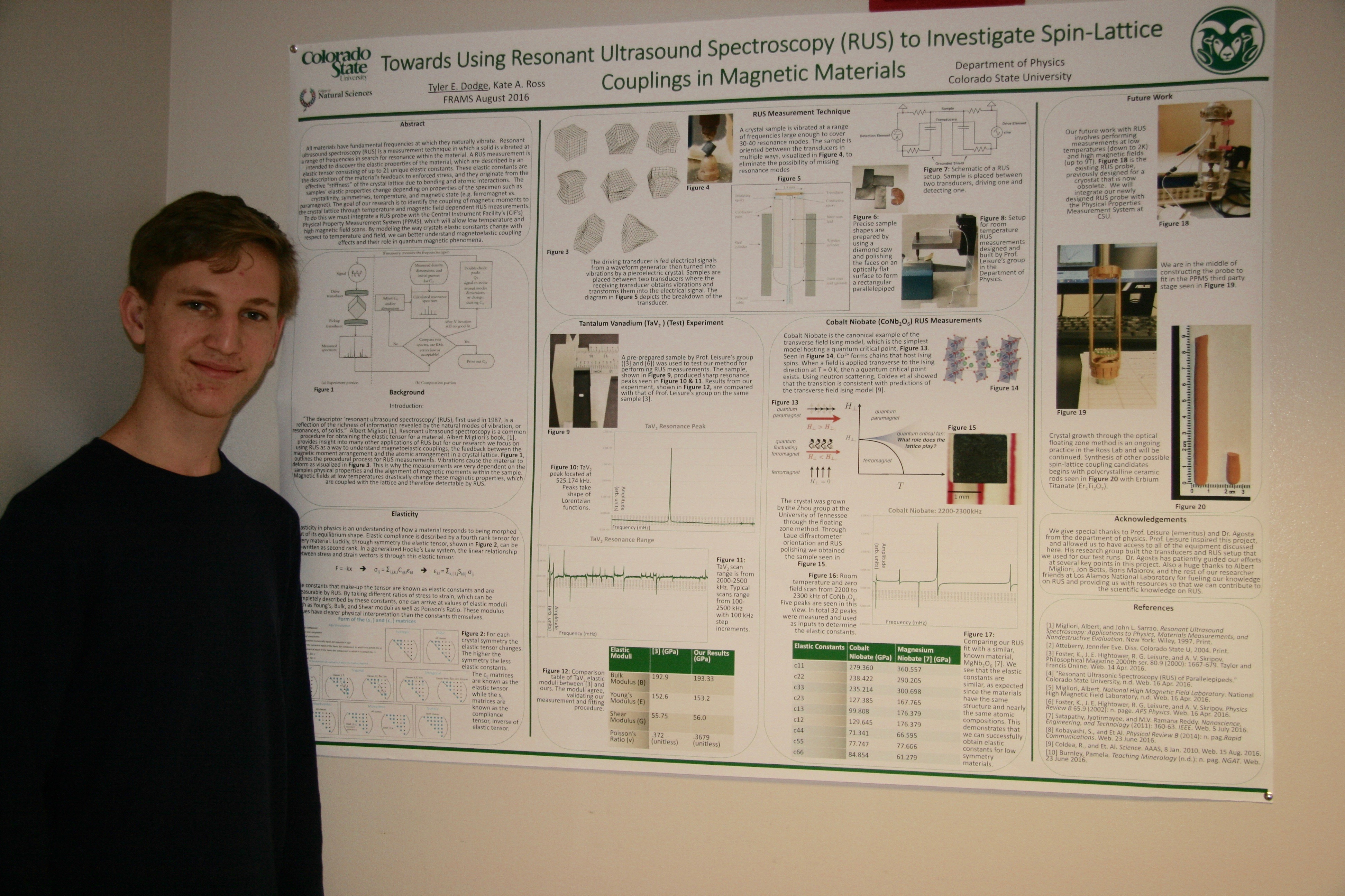 The award winning poster presenter, Tyler Dodge, and his poster on RUS